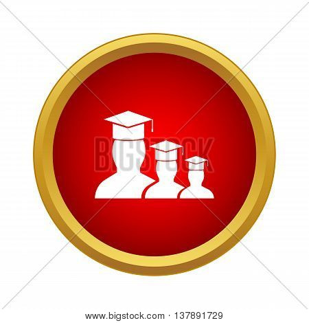 Students icon in simple style in red circle. People symbol