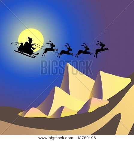 Vector illustration of Santa Claus with reindeers flying over Egypt