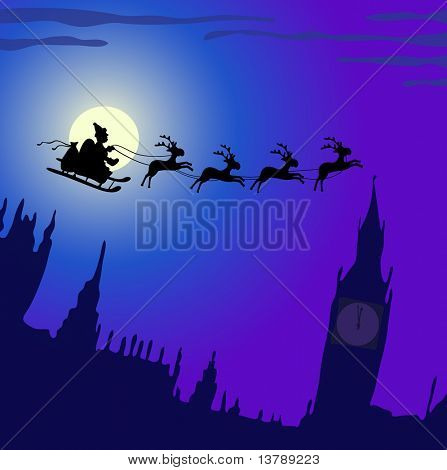 Vector illustration of Santa Claus with reindeers flying over England
