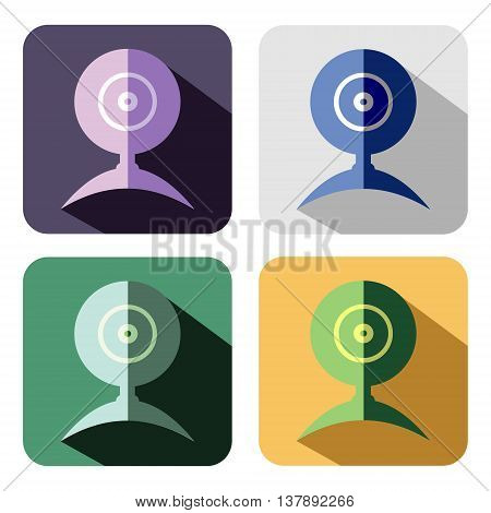 Vector icon. Set of colorful icons of web camera isolated on the white background