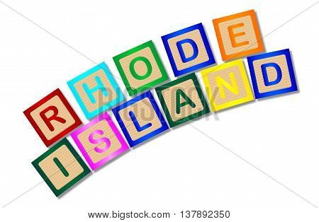 A collection of wooden block letters spelling Rhode Island over a white background