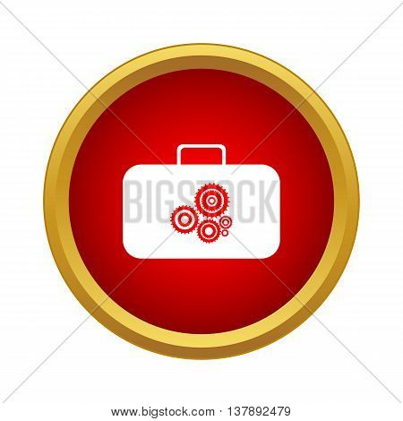 Suitcase with tools icon in simple style in red circle. Repair symbol