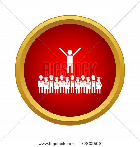Graduates icon in simple style in red circle. Education symbol