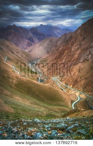Stunningly beautiful mountain road through the Western Tibet, China