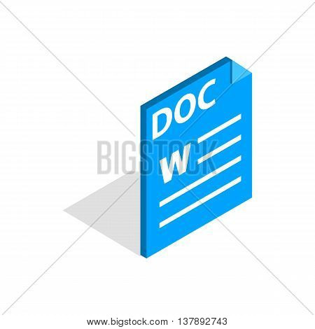 Text file format DOC icon in isometric 3d style isolated on white background