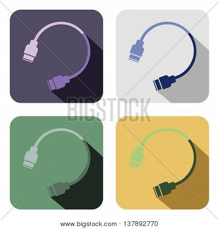 Vector icon. Set of colorful icons of usb cable isolated on the white background
