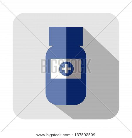 Vector square icon of medical vial isolated on the white background