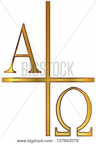 The A;phs Omega letters from the Greek alphabet in gold