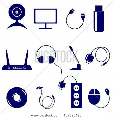 Vector set of technology icons: monitor web camera usb flash drive battery disk adapter headphones microphone pc mouse router isolated on the white background
