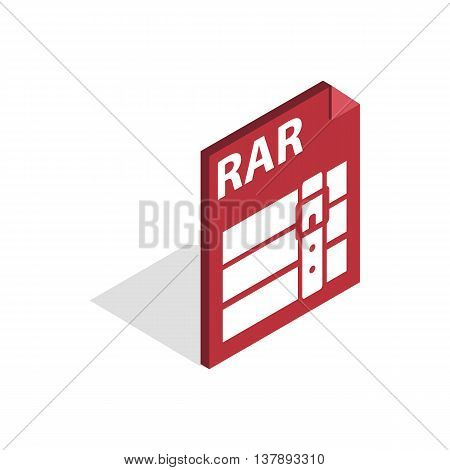 Archive RAR icon in isometric 3d style isolated on white background