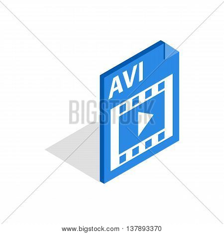 AVI file extension icon in isometric 3d style isolated on white background