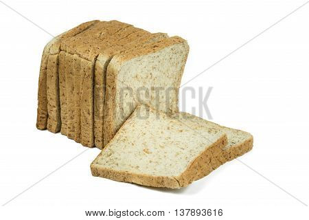 Fresh whole wheat bread slices isolated on white with clipping path