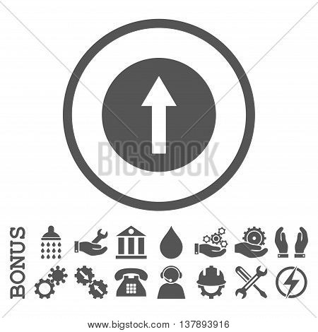 Up Rounded Arrow vector icon. Image style is a flat pictogram symbol inside a circle, gray color, white background. Bonus images are included.