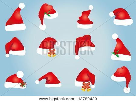 Vector illustration of collection of hats for Santa Claus