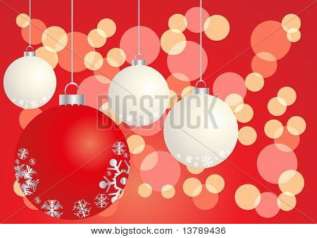 Vector illustration of red and white balls on a shiny background