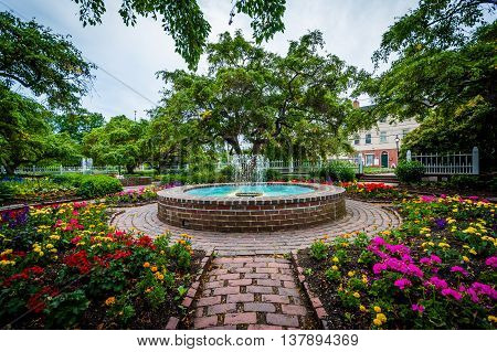 Fountain And Gardens At Prescott Park, In Portsmouth, New Hampshire.