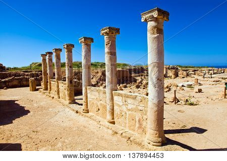 Saranta Kolones or Forty Columns castle is a ruined medieval fortress inside the Paphos Archaeological Park on Cyprus