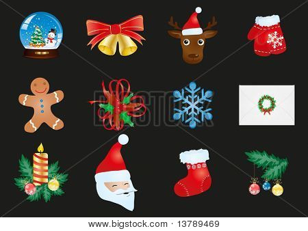 Vector illustration of collection of Christmas icons