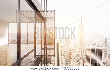 Balcony On Sunlit Ny Background