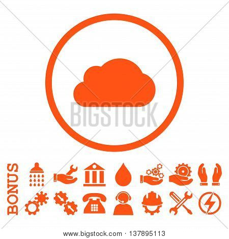 Cloud vector icon. Image style is a flat pictogram symbol inside a circle, orange color, white background. Bonus images are included.