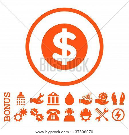 Finance vector icon. Image style is a flat pictogram symbol inside a circle, orange color, white background. Bonus images are included.