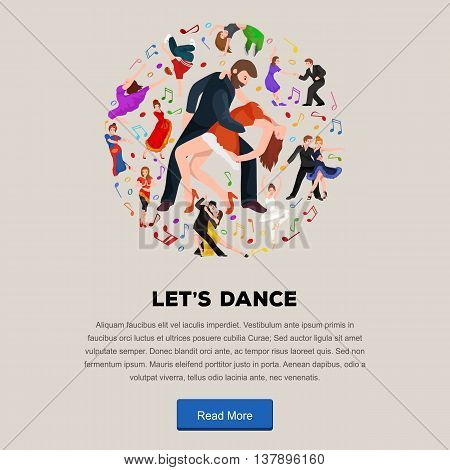 Couple dancing Kizomba in bright costumes. Vector illustration of partners dance bachata, happy peoples man and woman ballroom dancing poster, Bachata, roomba salsa dancer concept for poster, banner or flyer
