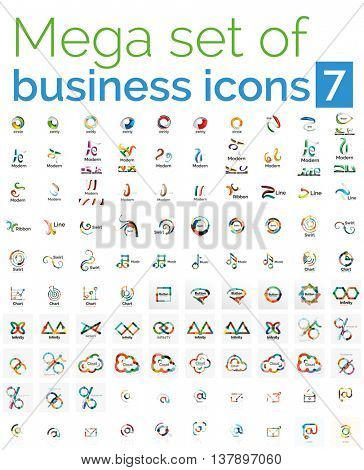 Logo mega collection - huge set of logotypes and branding emblems, business company identity icons. 100 corporate templates