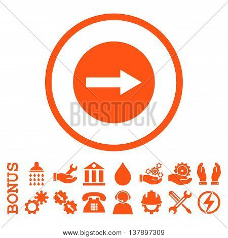 Right Rounded Arrow vector icon. Image style is a flat pictogram symbol inside a circle, orange color, white background. Bonus images are included.