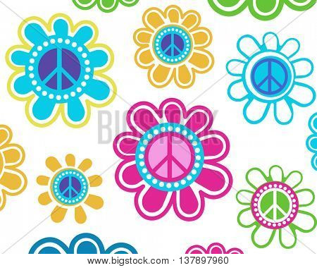 Retro peace flowers over blank background - access swatch for seamless pattern