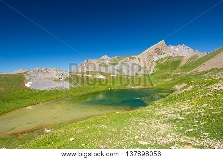 High Altitude Blue Lake In Idyllic Uncontaminated Environment Once Covered By Glaciers. Summer Adven