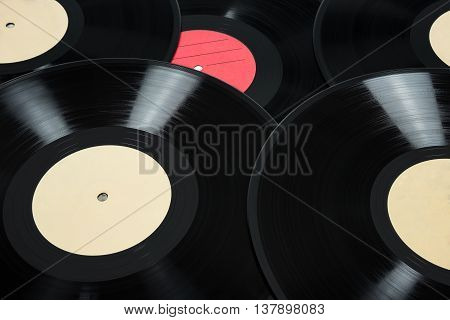 Music background made of old vinyl records