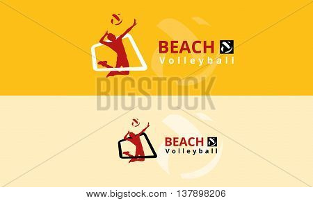 Vector logo volleyball. Bouncing a volleyball player hits a ball over a volleyball net beach