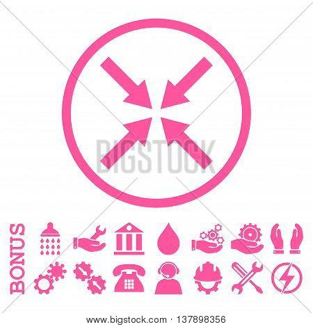 Center Arrows vector icon. Image style is a flat pictogram symbol inside a circle, pink color, white background. Bonus images are included.