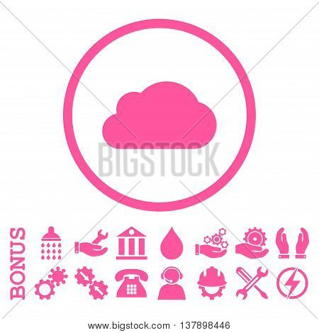 Cloud vector icon. Image style is a flat pictogram symbol inside a circle, pink color, white background. Bonus images are included.