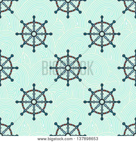 Ship helm vector seamless pattern. Helm, steering wheel and blue waves seamless texture. Steering wheel and wave symbols seamless pattern. Ship helm vector wallpaper design.