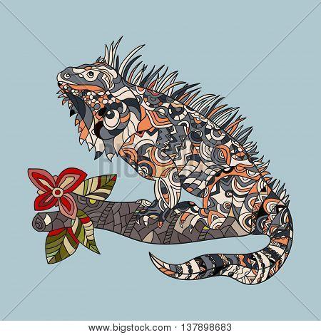 Vector hand drawn iguana. Ethnic tribal styled pattern. Vector