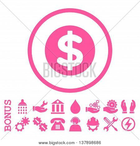 Finance vector icon. Image style is a flat pictogram symbol inside a circle, pink color, white background. Bonus images are included.