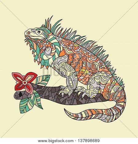 Vector hand drawn iguana. Ethnic tribal styled pattern. Zentagle style.