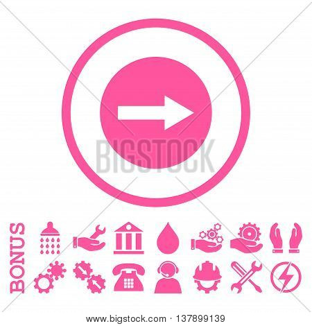 Right Rounded Arrow vector icon. Image style is a flat pictogram symbol inside a circle, pink color, white background. Bonus images are included.