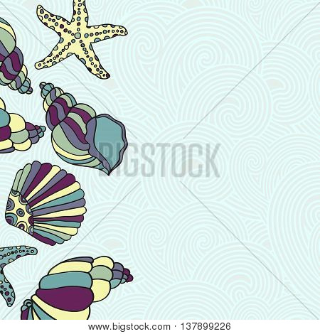 Vector Frame Illustration of Shells. Modern Holiday greeting card with shells and starfishes and place for text.