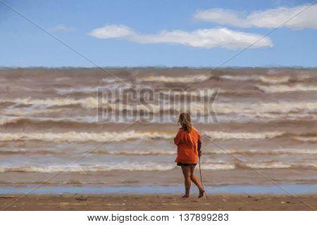 Illustrative image of female beachcomber walking along shoreline.
