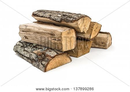 The logs of fire wood on white background -Clipping Path