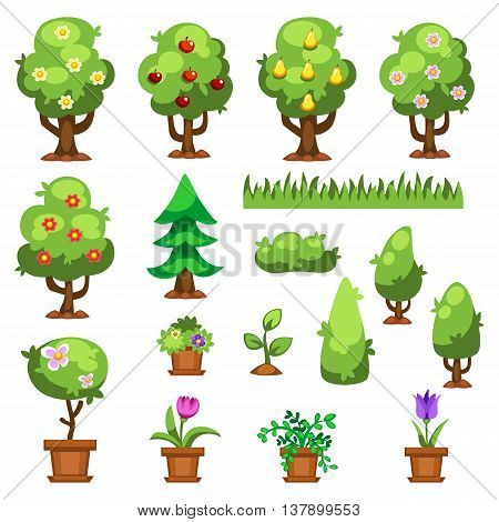 Flat nature plants green ecology flat plants. Summer green tree elements nature. Beautiful garden plants set of flat flowers elements grass, plants, bushes and trees vector illustration