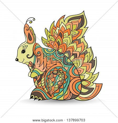 Zentangle squirrel vector illustration isolated on white background.Hand drawn squirrel for your design - for print bags, posters, cards, stationery , for web banners, advertisement for t-shirt, tattoo. Squirrel in zen tangle style.