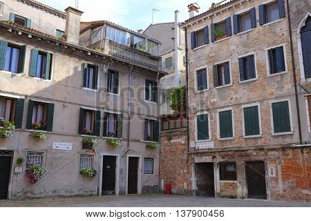 Venice, Italy, July, 7, 2016: inhabited house in Venice, Italy