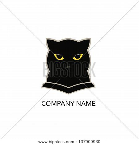 Black Panther with yellow eyes. Business logo template. Vector.