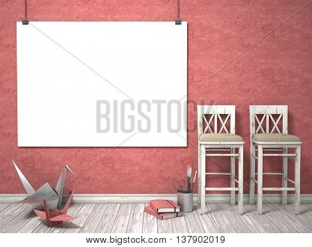 Mock up poster wooden white chairs and origami cranes 3D render illustration