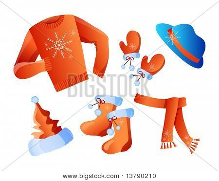 Vector illustration of winter holiday clothes isolated on a white  background