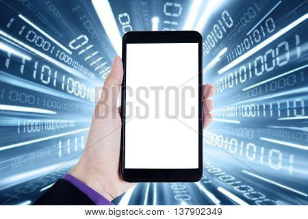 Close up of hand holding a mobile phone with empty screen and internet connection background
