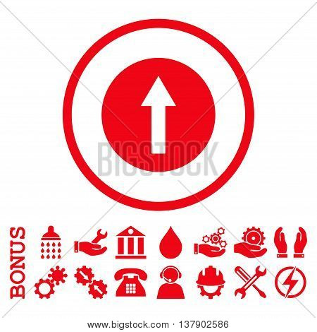 Up Rounded Arrow vector icon. Image style is a flat pictogram symbol inside a circle, red color, white background. Bonus images are included.